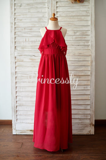 Spaghetti Straps Red Chiffon Wedding Junior Bridesmaid Dress
