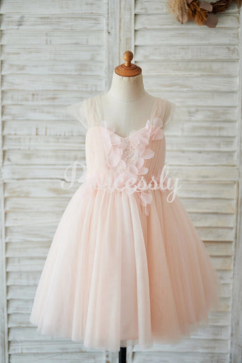 Strap Blush Pink Lace Tulle Wedding Flower Girl Dress with
