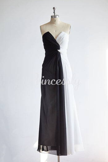 Strapless V Neck Black Ivory Long Chiffon Evening Party