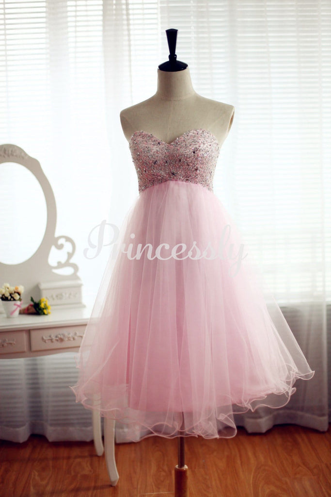 Strapless Pink Tulle Bridesmaid Dress Prom Dress Beading