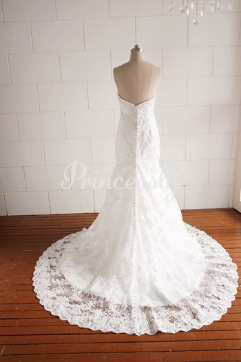 Strapless Sweetheart Beaded Lace Mermaid Wedding dress