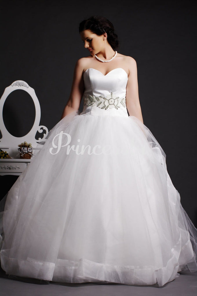 Strapless Sweetheart Beading Layered Tulle Ball Gown Organza