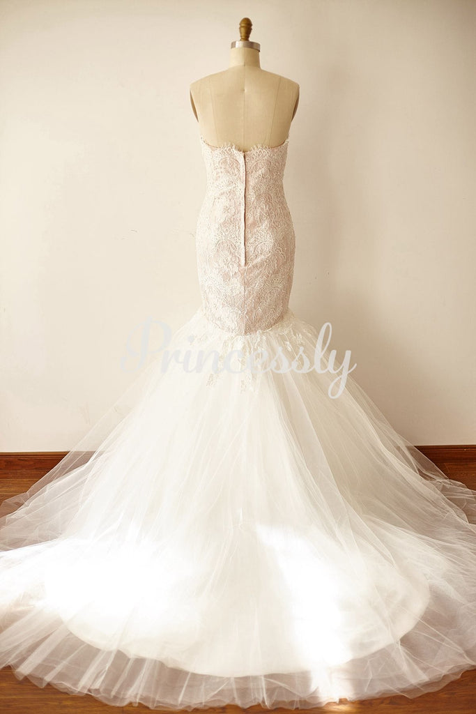 Strapless Sweetheart Ivory Beaded Lace Tulle Pink Lining