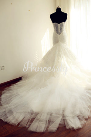 Strapless Sweetheart Ivory Lace Tulle Mermaid wedding Dress