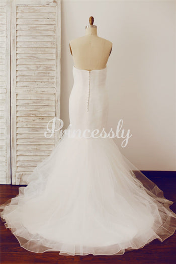 Strapless Sweetheart Mermaid Tulle Wedding Dress