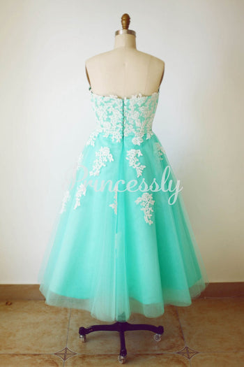 Strapless Sweetheart Mint Blue Tulle Lace Tea Length Short