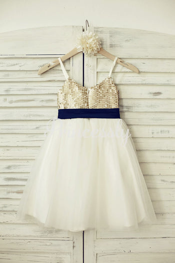 Thin Straps Champagne Sequin Tulle Flower Girl Dress with