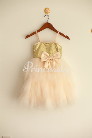 Thin Straps Gold Sequin Champagne Tulle Ruffle Flower Girl