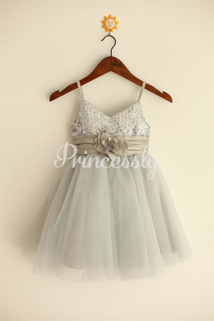 Thin Straps Silver Sequin Tulle Flower Girl Dress