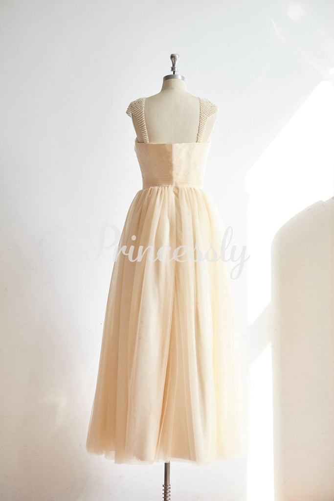 Sweetheart Champagne Tulle Pearl Cap Sleeves Long Prom Party
