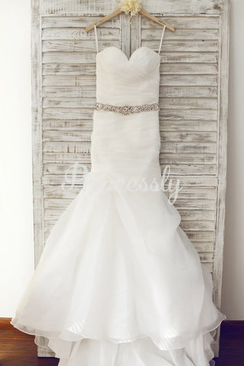 Sweetheart Neckline Organza Wedding Dress with Beaded Belt