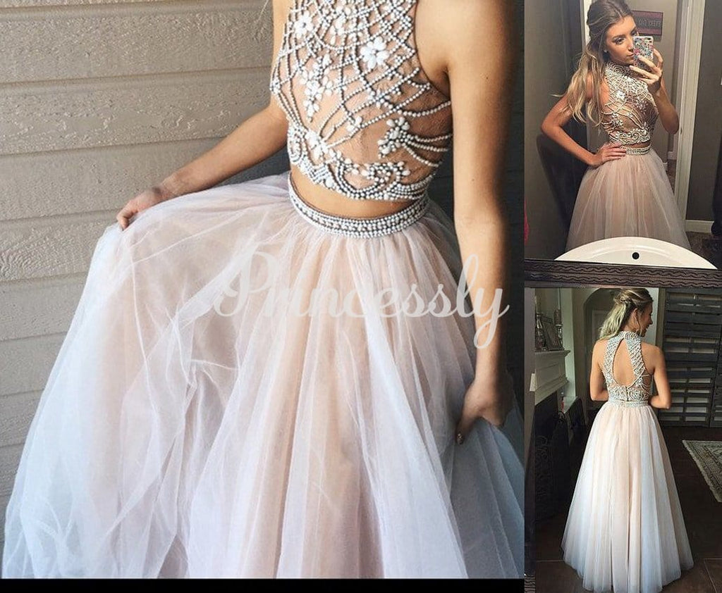 Two piece Champagne Satin Tulle Beaded Keyhole Back Halter