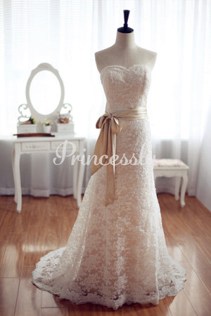 Vintage Inspired French Corded Lace Wedding Dress Champagne