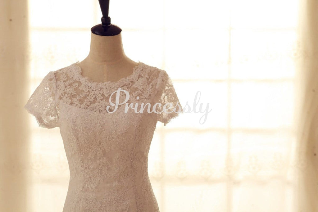 Vintage Inspired French Corded Lace Wedding Dress Short
