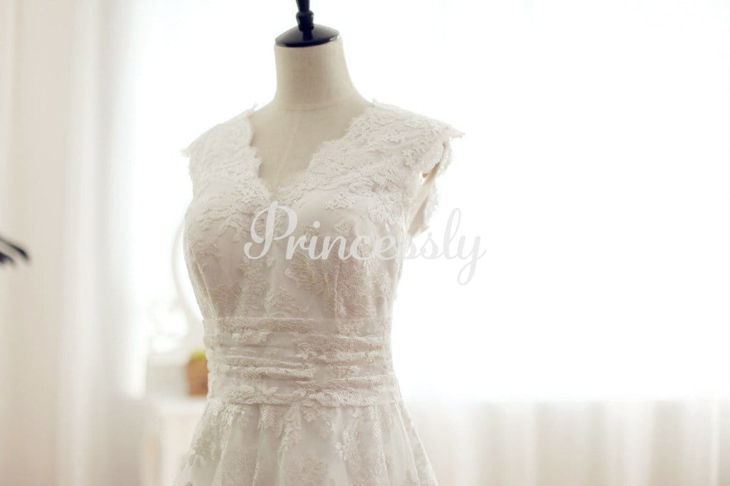 Vintage Inspired Lace Wedding Dress with Cathedral Train V