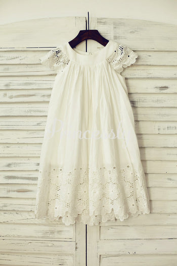 Vintage Ivory Cotton Eyelet Lace Flower Girl Dress with Cap