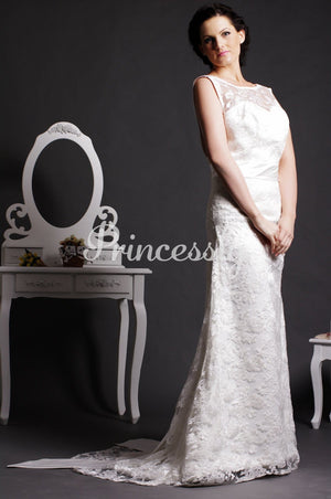 Vintage Sheath Scoop V-neck Back Lace Covered Satin Court