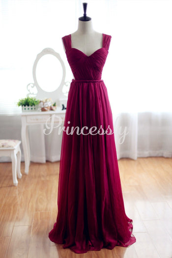 Wine Red Burgundy Chiffon Bridesmaid Dress Prom Dress See
