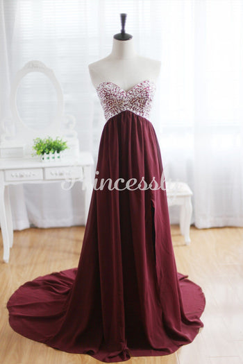 Wine Red Burgundy Chiffon Bridesmaid Dress Prom Dress