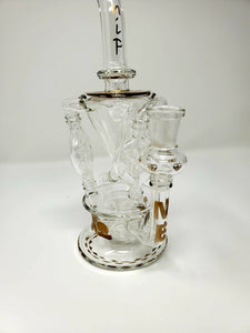 "10"" Custom Beaker Bong w/ Circ Percolator and 3 Way Tornado Recycler - Burnt Mushroom"