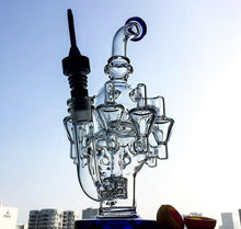 "Load image into Gallery viewer, 11.8"" Unique Octo Recycler Chambered Bong w/ Cage Percolator - Burnt Mushroom"