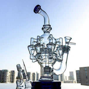 "11.8"" Unique Octo Recycler Chambered Bong w/ Cage Percolator - Burnt Mushroom"