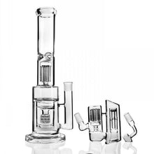 "Load image into Gallery viewer, 13.8"" Straight Dab Rig w/ Cage, Tree, and Honeycomb Percolators + Ice Catcher and Ash Catcher - Burnt Mushroom"