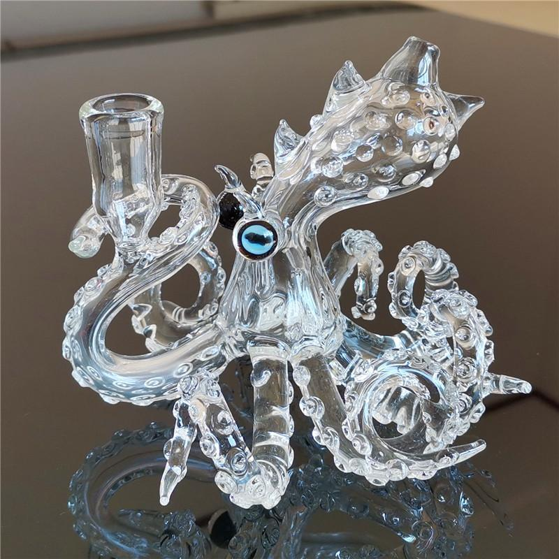 "5.3"" Octopus Dab Rig w/ Skillfully Crafted Detail and Color - Burnt Mushroom"