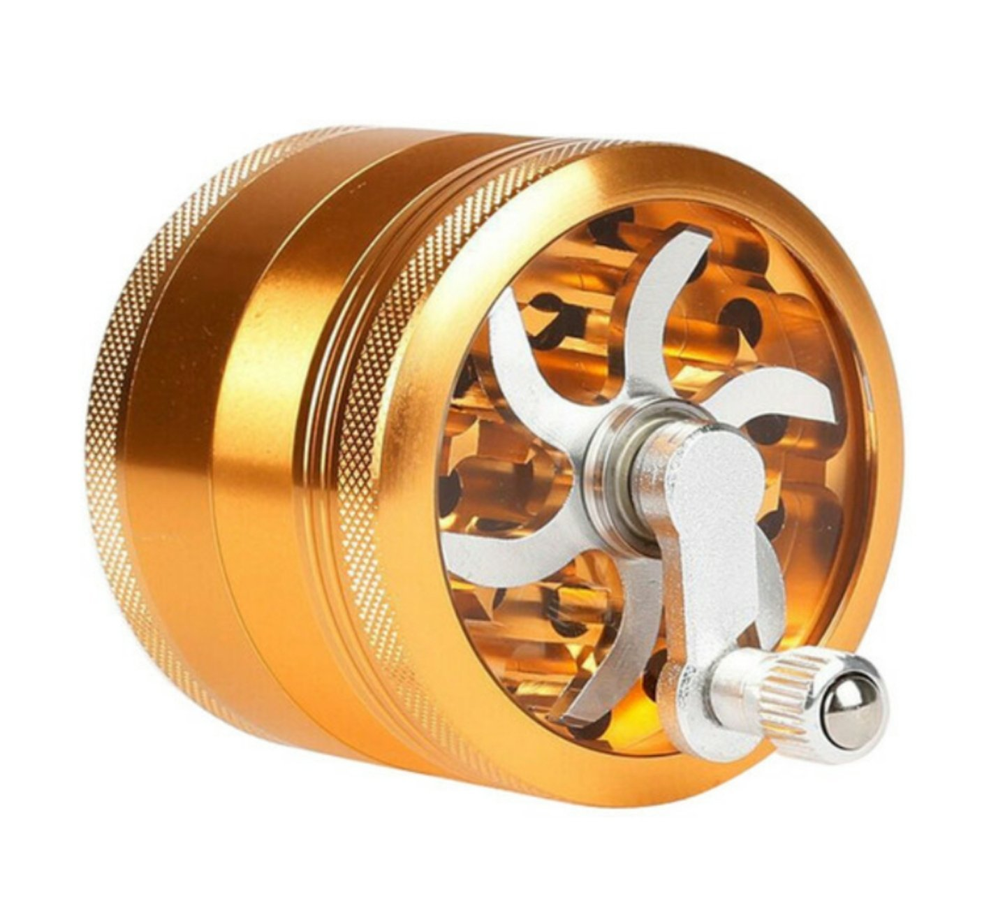 63mm Aluminium Alloy Grinder w/ 4 Chambers and Built-in Hand Crank - Burnt Mushroom