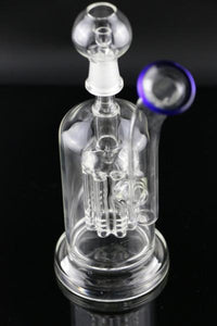 "7.1"" Straight Dab Rig w/ 8 arm Tree percolator - Burnt Mushroom"