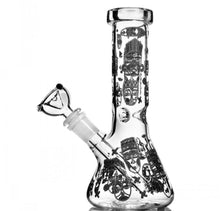 "Load image into Gallery viewer, 7.8"" Beaker Bong w/ Downstem Percolator and Ice Catcher + Glow in The Dark - Burnt Mushroom"