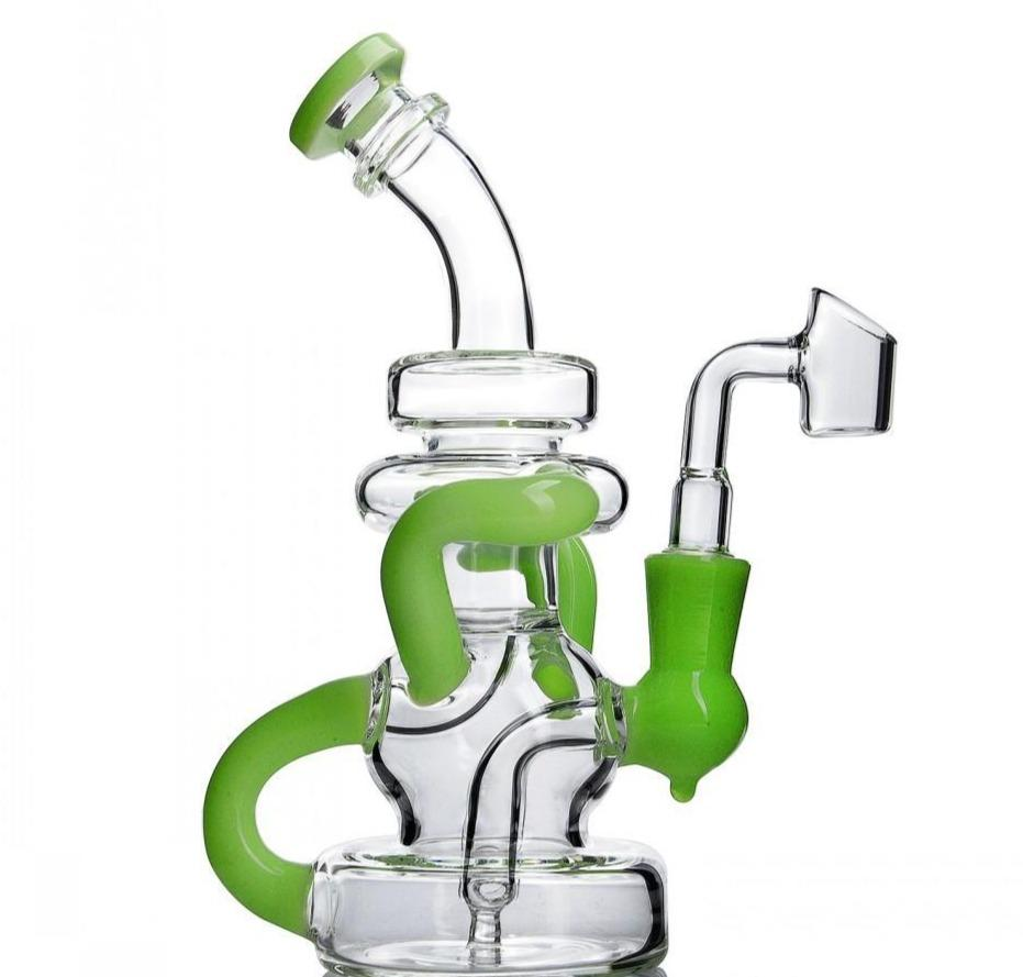 "7.8"" Beaker Bong/Dab Rig w/ Downstem Percolator and Recycler - Burnt Mushroom"