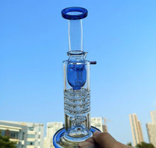 "Load image into Gallery viewer, 8.2"" Straight Bong w/ Modified Inline Circ and Inverted Showerhead Percolators - Burnt Mushroom"