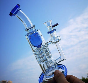 "8.2"" Straight Bong w/ Modified Inline Circ and Inverted Showerhead Percolators - Burnt Mushroom"