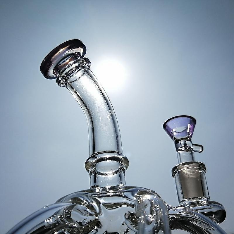 "8.7"" Straight Bong w/ Inline Percolator and 12-Way Recycler - Burnt Mushroom"