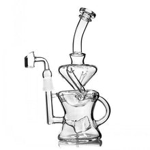 "Load image into Gallery viewer, 9.4"" Beaker Recycler Dab Rig w/ Cube Percolator - Burnt Mushroom"