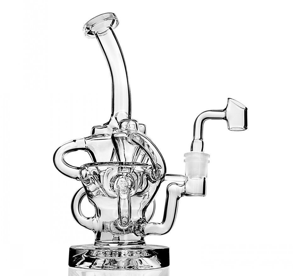 "9.4"" Straight Dab Rig w/ Cage Percolator and 3-Way Recycler - Burnt Mushroom"
