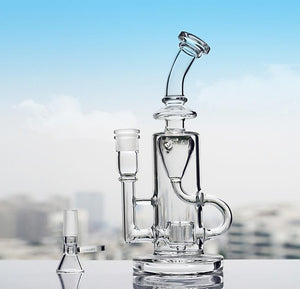 "9.5"" Straight Bong w/ Faberge Egg and Inline Percolators + Recycler - Burnt Mushroom"