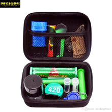 Load image into Gallery viewer, High Quality Smoking Set w/ Black Nylon Tobacco Bag, Blue Plastic Herb Grinder & Stash Jar, King Size Plastic Doob and More - Burnt Mushroom