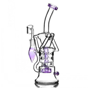 "10"" Beaker Dab Rig w/ Faberge Egg and Circ Percolator + Recycler - Burnt Mushroom"