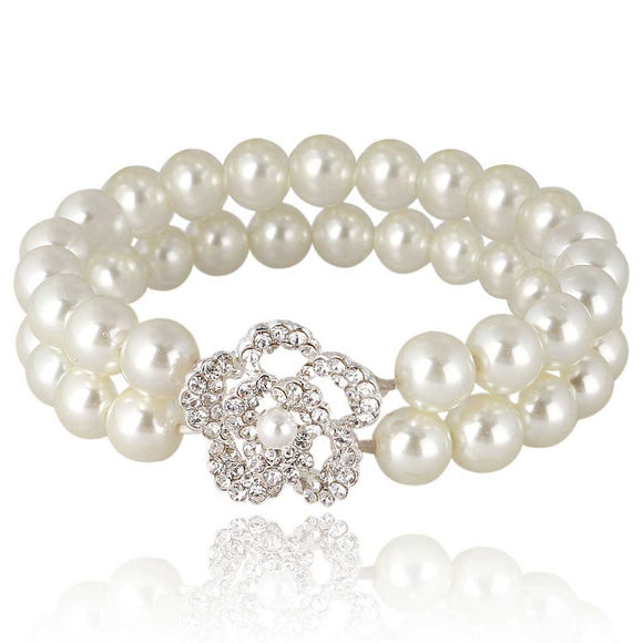 Double Row Ivory Pearl Stretch Bracelet on White Background