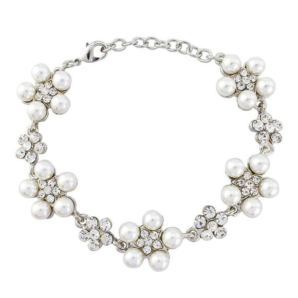 Crystal Pearl Flower Bracelet on white background