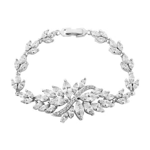 Cubic Zirconia Marquise Bracelet on White Background