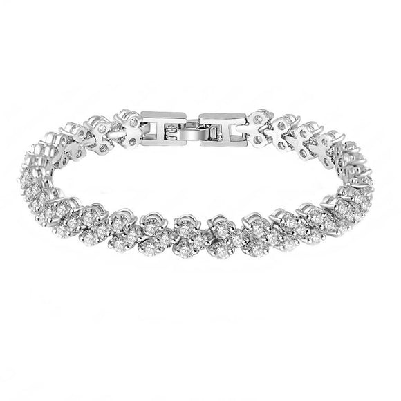 Cubic Zirconia Roman Style Bracelet on White Background