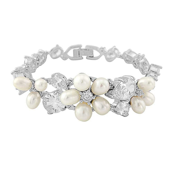 Freshwater Pearl Cubic Zirconia Bridal Bracelet on White Background