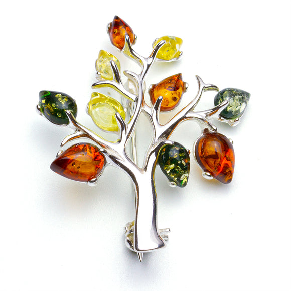 Tree of Life Mixed Amber Silver Brooch on White Background