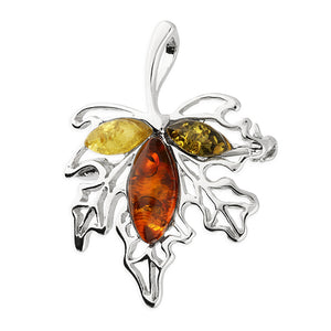 Mixed Amber Sterling Silver Maple Leaf Brooch Pendant on White Background