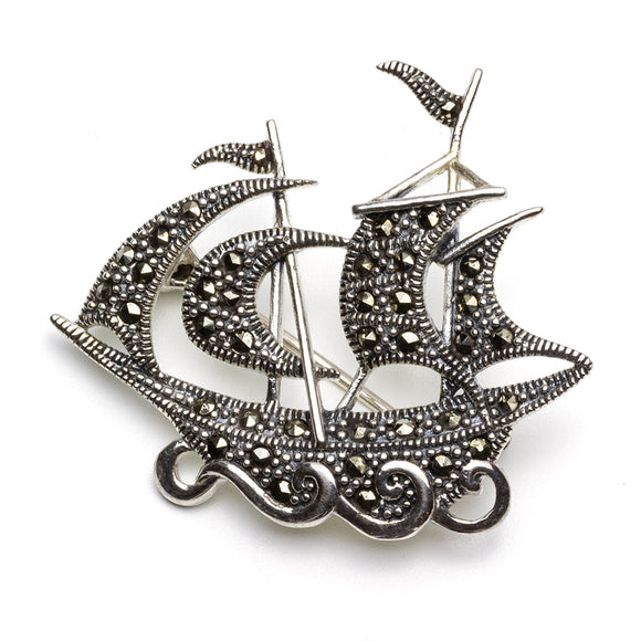 Galleon Marcasite Silver Brooch on White Background