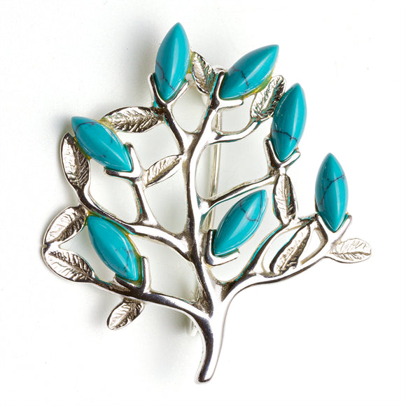 Turquoise Silver Tree of LIfe Small Brooch on White Background