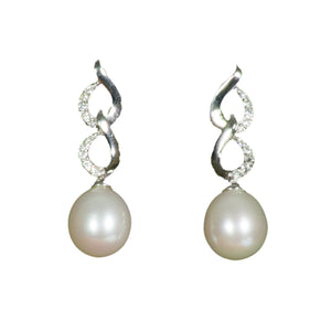 Sterling Silver CZ Freshwater Pearl Earrings on white background